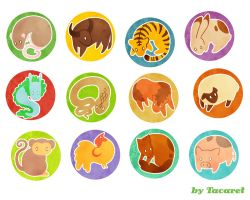 Chinese zodiac buttons by Tacaret