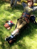Hiccup Cosplay ~After a Long Day of Dragon Riding~ by oOPrincessLinkOo