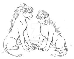 Gelphie lions and their cubs by WickedRyu