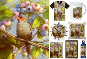 Orange cheeked waxbill finch with blueberries by emmil