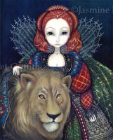 Queen Elizabeth and a Lion by jasminetoad