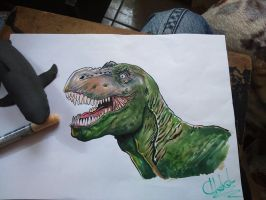 Marker T Rex and my rubber shark. A4 by IgorChakal