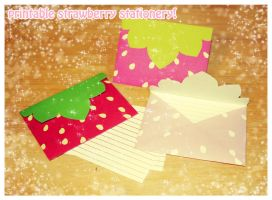 Printable StrawberryStationery by szmoon