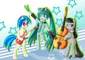musician ponies by roshichen
