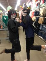 Cosplay at Old Navy,  Vriska and Terezi by PuzzleLeafs