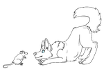 Wolf and rat Lineart by OriginalDragonLord