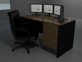 Desk And monitor setup by andril