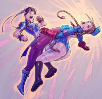 Chun-Li vs. Cammy color by alexichabane