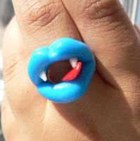 blue vampire lick ring by GirlOfTheOcean
