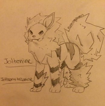 Arcanine + Jolteon Fusion by RealFlamingPapers