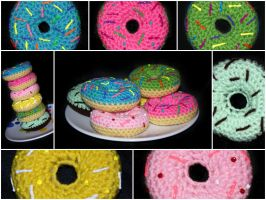 Cute Crochet Donuts by rainbowdreamfactory