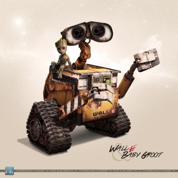 Wall-E and Baby Groot: Natural Allies by SilentArmageddon