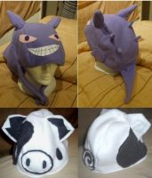 Gengar and Piggle Fleece Hats by Bkitten