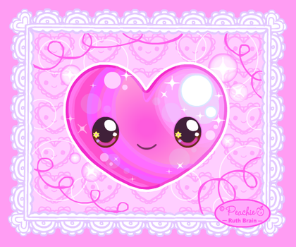 Pink Love Heart by Princess-Peachie