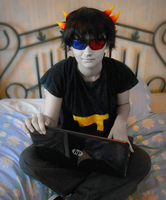 Sollux and his Husktop! by Mollymoo22