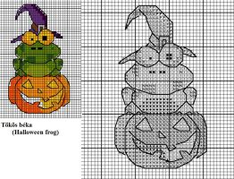 Halloween frog x-stitch pattern by Astraan