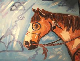 Thunder Cloud War Horse by NativeAmericanArts