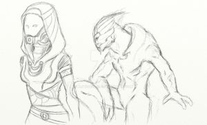quarian and turian - sketch by AMYisC0P1C