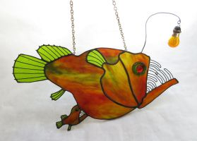 Stained Glass Female Anglerfish with  Male by trilobiteglassworks
