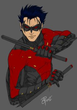 nightwing doodle by dg-doodles