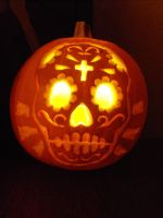 Sugar Skull Pumpkin by dontcallmerosie