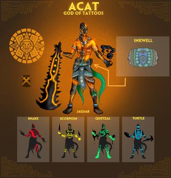 Smite Concept - Acat, God of Tattoos by Kaiology