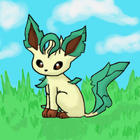 Sitting Leafeon by GoldFlareon