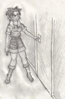 My character at the door by evilseedlet