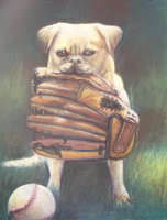 Dog and Baseball Glove by plasmahermit