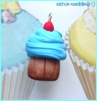 blue cherry cupcake by citruscouture