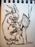 Inktober 11 drawing moster by grimzzi