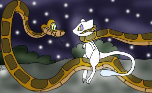 Kaa Catches Mew Redraw painted by lol20