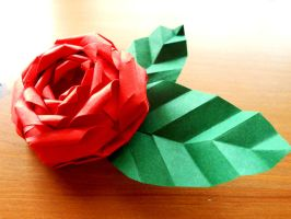 Red Rose Barrette - Origami Hair Accessory by Fail-to-Pale