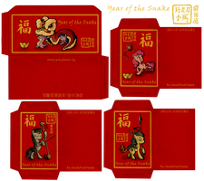 Year of the Snake Lucky Money Red Envelope Designs by SouthParkTaoist