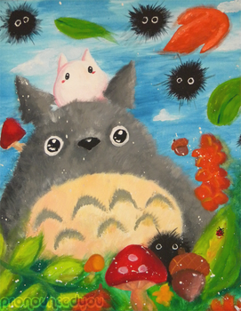 Totoro Painting by pronouncedyou