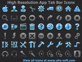 High Resolution App Tab Bar Icons for iPhone by Iconoman