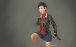Moto Leather Puzzle girl by cgmodeler