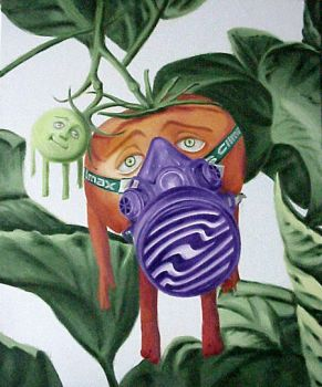 Tomato with mask by AL1970ART