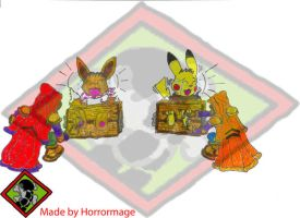 Pikachu and eevee tickled by Horrormage