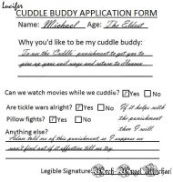 Michael Cuddle Buddy Application Form by TheQueenofLight