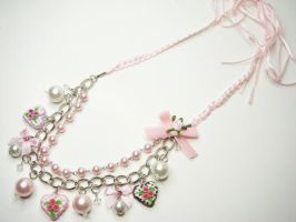 Heart Cake Pearl Necklace by SweetandCo