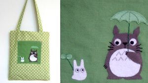 Green bag totoro with umbrella by yael360