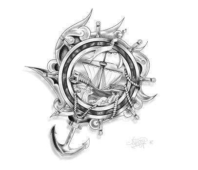 Tattoo Design : Ship, Anchor and ropes by Drocel