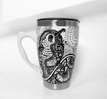 Hummingbird Henna Black and White Mug by cydienne