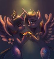 Twilight Sparkle and Cadence by Raikoh-illust