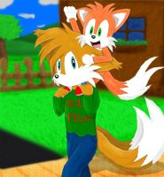 Tails and Copter: Piggyback Ride by Dapuffster