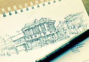 Shophouse sketch by fishykays