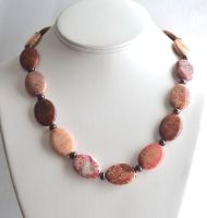 Fossil Coral and Garnet Necklace by lamorth-the-seeker