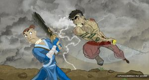 Sokka vs Crazy Mohawk Guy by CaptainUnobservant
