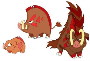 Pokemon- Fakes- Wild Boars by JoshuaDunlop